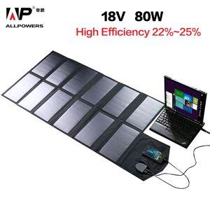 Allpowers 80W Solar Charger 18V 12V Zonnepaneel Portable Solar Battery Charger Voor Mobiele Telefoons Tablet Laptop 12V Auto Batterij