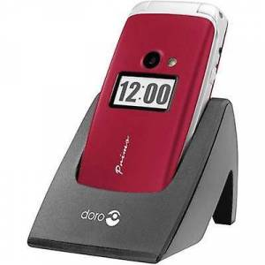 Doro Primo by DORO 413 grote knop Flip Top mobiele telefoon opladen station, paniekknop rood