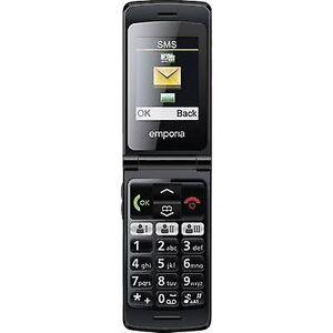 Emporia FlipBasic grote knop mobiele telefoon laadstation, paniekknop zwart