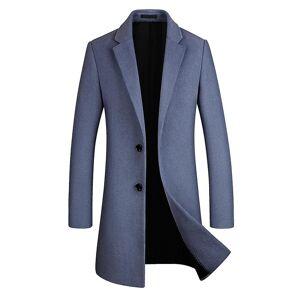 Allthemen mannen ' s mid-lange revers Solid Business Casual wol overjas Grijs blauw M