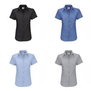 B&C B & C dames Oxford korte mouw Shirt / dames Shirts Oxford blauw XS