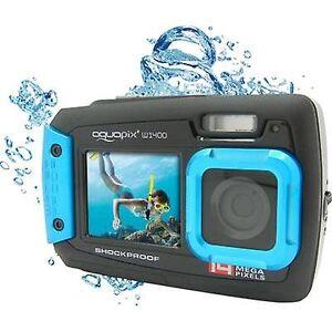 Easypix W-1400 digitale camera 14 MP zwart/blauw stofdicht, onderwatercamera, front display