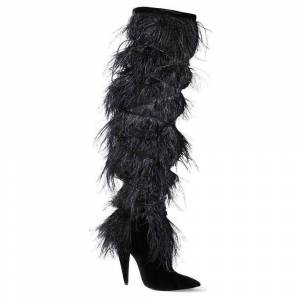 Yves Saint Laurent Yeti Feather Over the Knee Boots