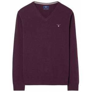 Gant Trui Super Fine Lambswool V-Neck Dark Burgundy Melange / male