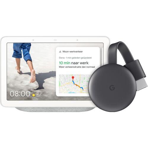 Google Nest Hub Chalk + Google Chromecast 3