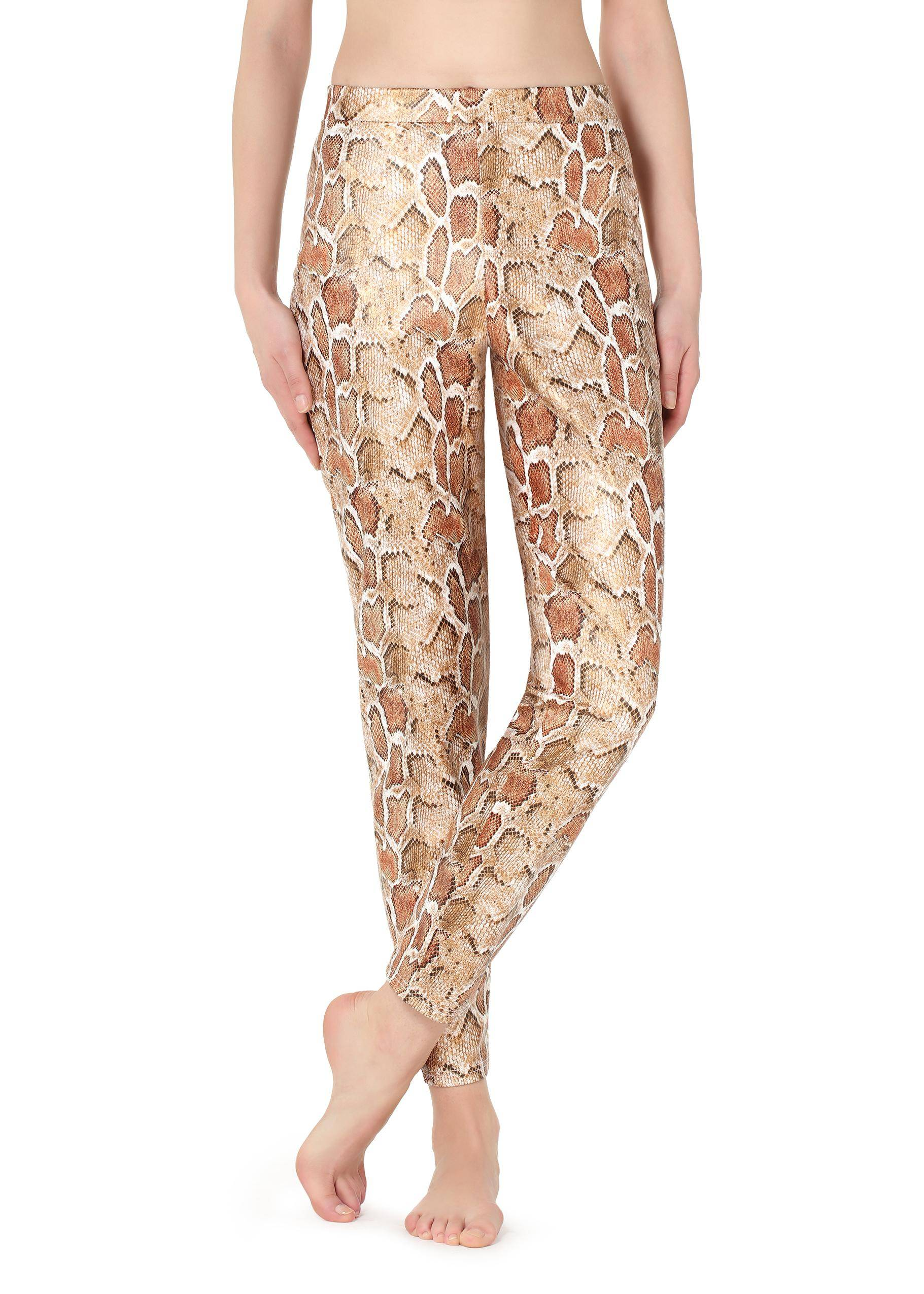 55e5e10c111f33 Calzedonia Snake leather-effect leggings / Red - 1813 - Terracotta / Women