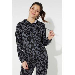 Tezenis Hooded Sweatshirt with Zip and Drawstring Black - 836T - Black Floral Print M Women
