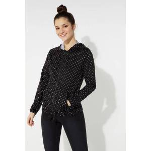 Tezenis Hooded Sweatshirt with Zip and Drawstring Black - 8487 - Black Micro Heart Print L Women