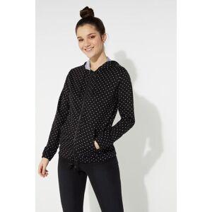 Tezenis Hooded Sweatshirt with Zip and Drawstring Black - 8487 - Black Micro Heart Print M Women