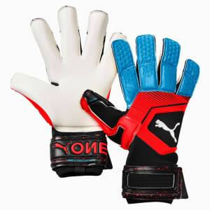 PUMA ONE Grip 1 Hybrid Pro keepershandschoenen, Blauw/Zwart/Rood, Maat 8,5