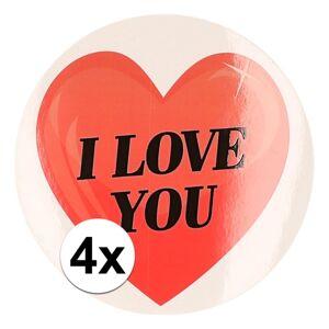 Merkloos Kadostickers hart I Love You 9 cm 4 stuks
