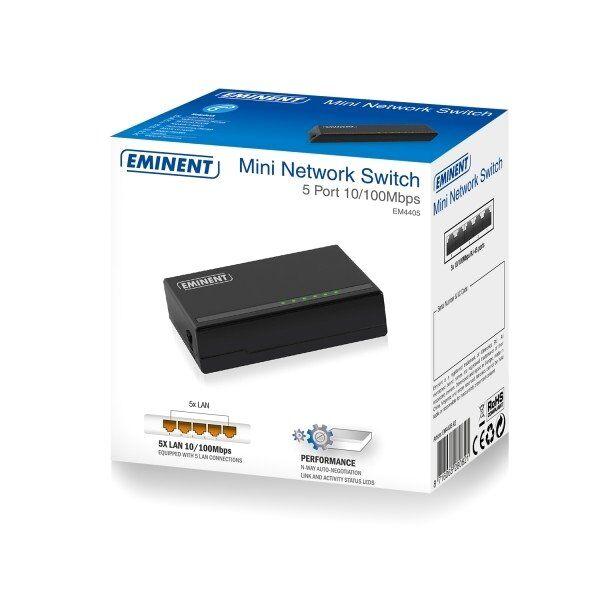 Eminent EM4405 5 Poorts Mini Netwerk Switch 10/100Mbps