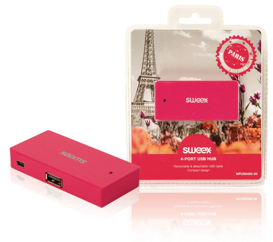 Sweex 4 Poorten Hub USB 2.0 Roze