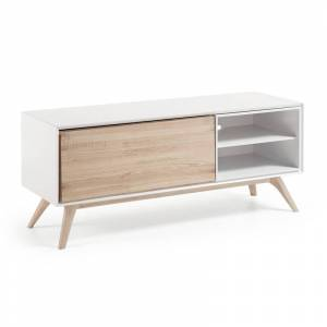 La Forma Tv-meubel Quatre  wit afgelakt mdf met essenhout (134 x 45 cm)