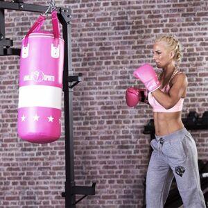 Gorilla Sports Bokszak 16 kg met handschoenen roze - kunstleder