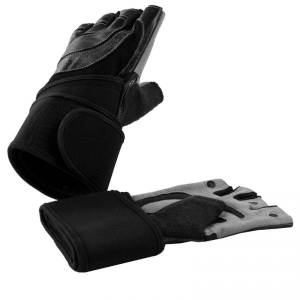Gorilla Sports - Fitness Handschoenen - Leer - met polsbandage - M