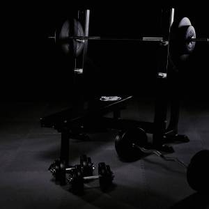 Gorilla Sports Vlakke Halterbank + 100 kg Halterset - Kunststof