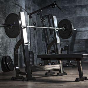 Gorilla Sports Vlakke Halterbank Met 100 kg Halterset Kunststof