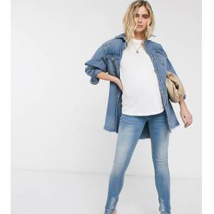 """Mama.licious Mamalicious - Smalle jeans-Grijs  - female - Grijs - Grootte: 26"""" Long"""