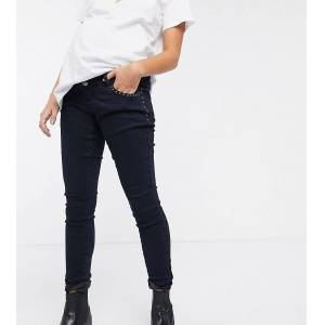 "Mama.licious Mamalicious - Smalle jeans met buikband-Marineblauw  - female - Marineblauw - Grootte: 28"" Reg"