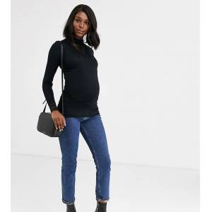 Mama.licious Mamalicious - Zwangerschapskleding - Hoogsluitende top met kanten inzetstuk in zwart  - female - Zwart - Grootte: Small