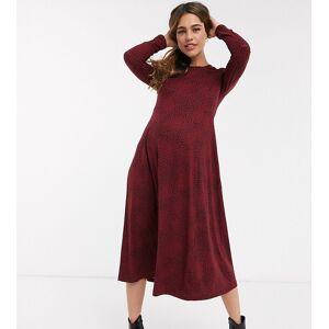 New Look Maternity - Aangerimpelde, zacht aanvoelende midi-jurk met rood motief