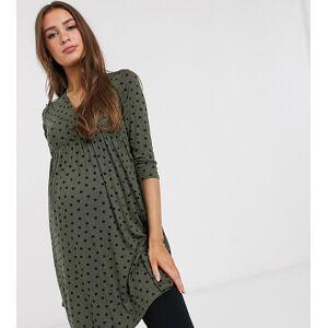 New Look Maternity - Jersey jurk met 3/4-mouwen en stippen in groen