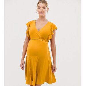 New Look Maternity - Jersey jurk met overslag en ruchemouwen in geel  - female - Geel - Grootte: 40