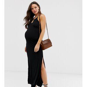 New Look Maternity - Lange plisse jurk in zwart
