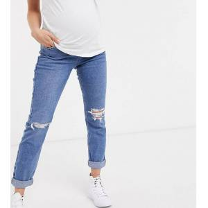 New Look Maternity - Mom jeans met buikband in blauw