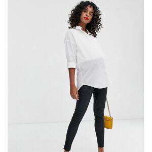New Look Maternity - Over de buik vallende jegging van imitatieleer met coating in zwart