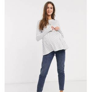 New Look Maternity - Peplum T-shirt met lange mouwen en stippen in wit