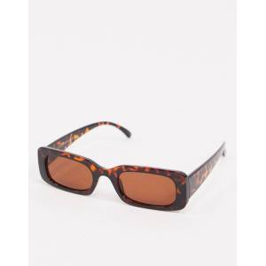 New Look - Rechthoekige zonnebril in tortoise-Bruin  - female - Bruin - Grootte: One Size