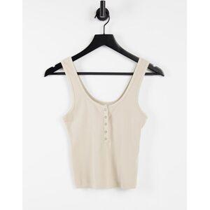 Abercrombie & Fitch - Crop T-shirt met knopen in beige-Bruin  - female - Bruin - Grootte: Large