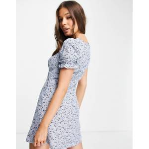 Aeropostale - Wijduitlopende jurk met pofmouwen in babyblauw  - female - Blauw - Grootte: Extra Large