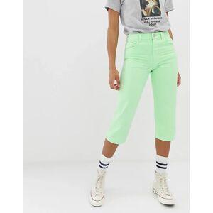 ASOS DESIGN - Florence Authentic - Cropped jeans met rechte pijpen in neon limoengroen met wassing  - female - Groen - Grootte: W25 L32