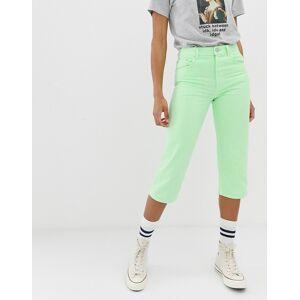ASOS DESIGN - Florence Authentic - Cropped jeans met rechte pijpen in neon limoengroen met wassing  - female - Groen - Grootte: W24 L32