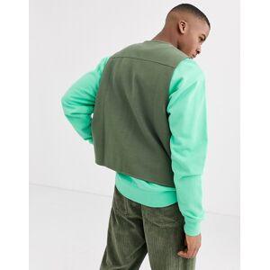 ASOS DESIGN - Jersey utility-gilet in kaki-Groen  - male - Groen - Grootte: Extra Small