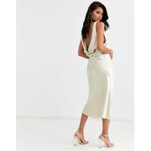 ASOS DESIGN - Schuin van draad gesneden satijnen midi-jurk met gedrapeerde halslijn en diamantjes aan de achterkant-Crème  - female - Crème - Grootte: 34