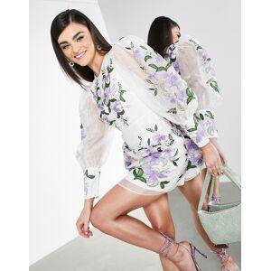 ASOS EDITION - Organza mini-jurk met borduursel en pofmouwen-Meerkleurig  - female - Meerkleurig - Grootte: 38