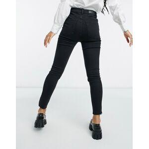 Bershka - Skinny jeans met extra hoge taille in zwart  - female - Zwart - Grootte: 36