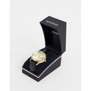 Sekonda - Leren horloge in zwart met gouden klokkastje en wijzerplaat  - female - Zwart - Grootte: No Size