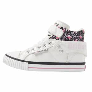 british knights ROCO Hoge meisjes sneakers flamingo panterprint - Wit - maat 29