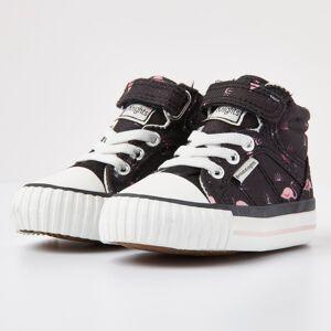 british knights DEE Baby meisjes hoge sneakers flamingo print - Zwart - maat 24