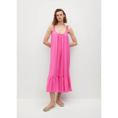 Mango Jurk met strook aan de onderkant - Roze, - Dames - XS,