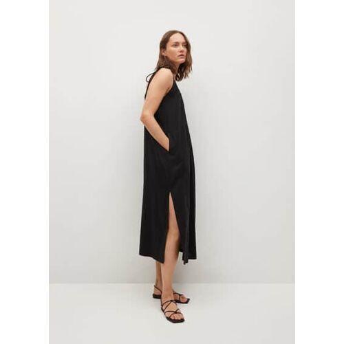 Mango Linnen jurk met openingen - Zwart, - Dames - S,