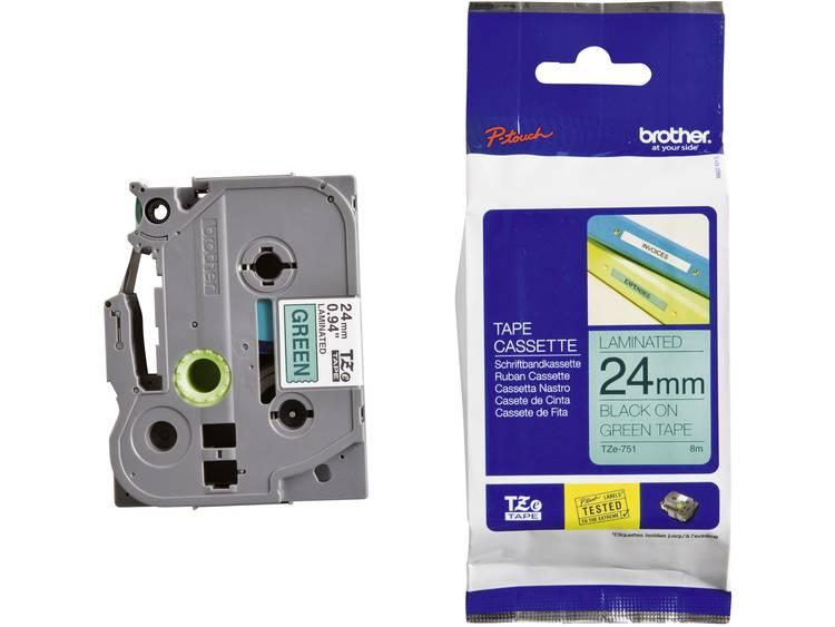 Brother Labeltape Brother TZe, TZ TZe-751 Tapekleur: Groen Tekstkleur:Zwart 24 mm 8 m