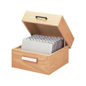 HAN 505 505 Kaartenbak Natuurlijk hout Aantal kaarten (max.): 900 kaarten DIN A5 liggend Met metaalsteun, Wegklapbaar deksel met greep