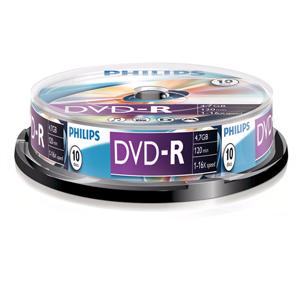 Philips Dvd-R 4,7Gb 16Xspeed Spindle 10 Stuks