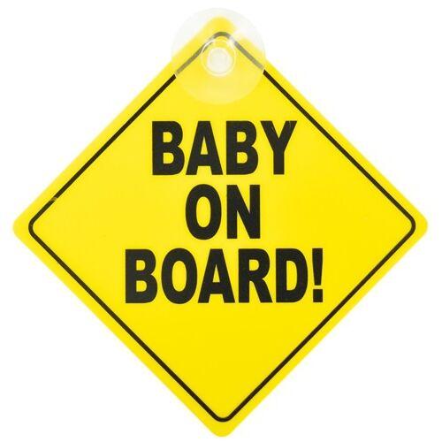Carkids bordje Baby on Board! engels 12,5 geel
